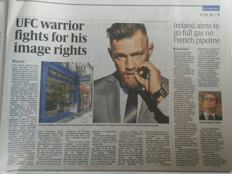 Conor McGregor Trademarks Sunday Times