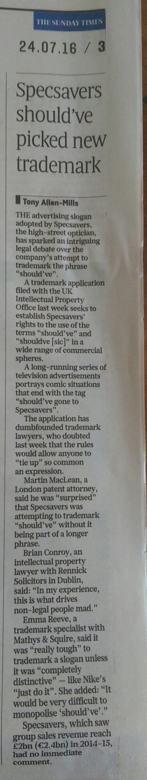 Trademark Ninja - Sunday Times Specsavers