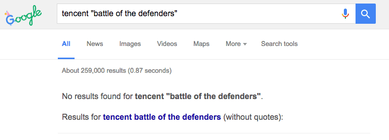 tencent-battle-of-the-defenders-google-results-no-results-found