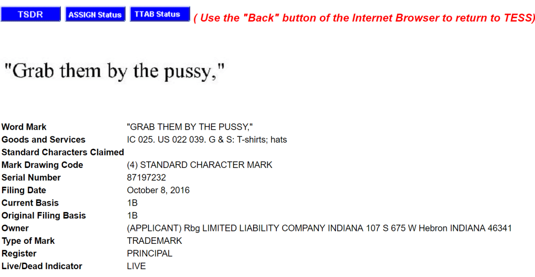Grab Them By The Pussy Trademark Application Filed