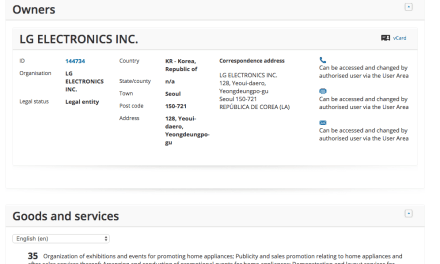 LG have applied for a Trademark for SignatureGallery @LG LG