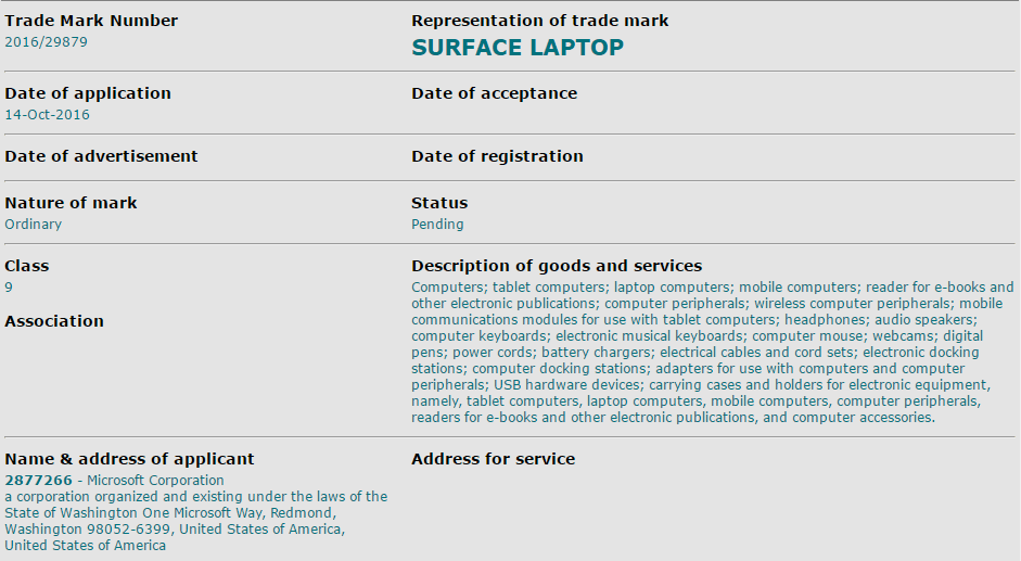 Microsoft Surface Laptop Trademark Application Picture