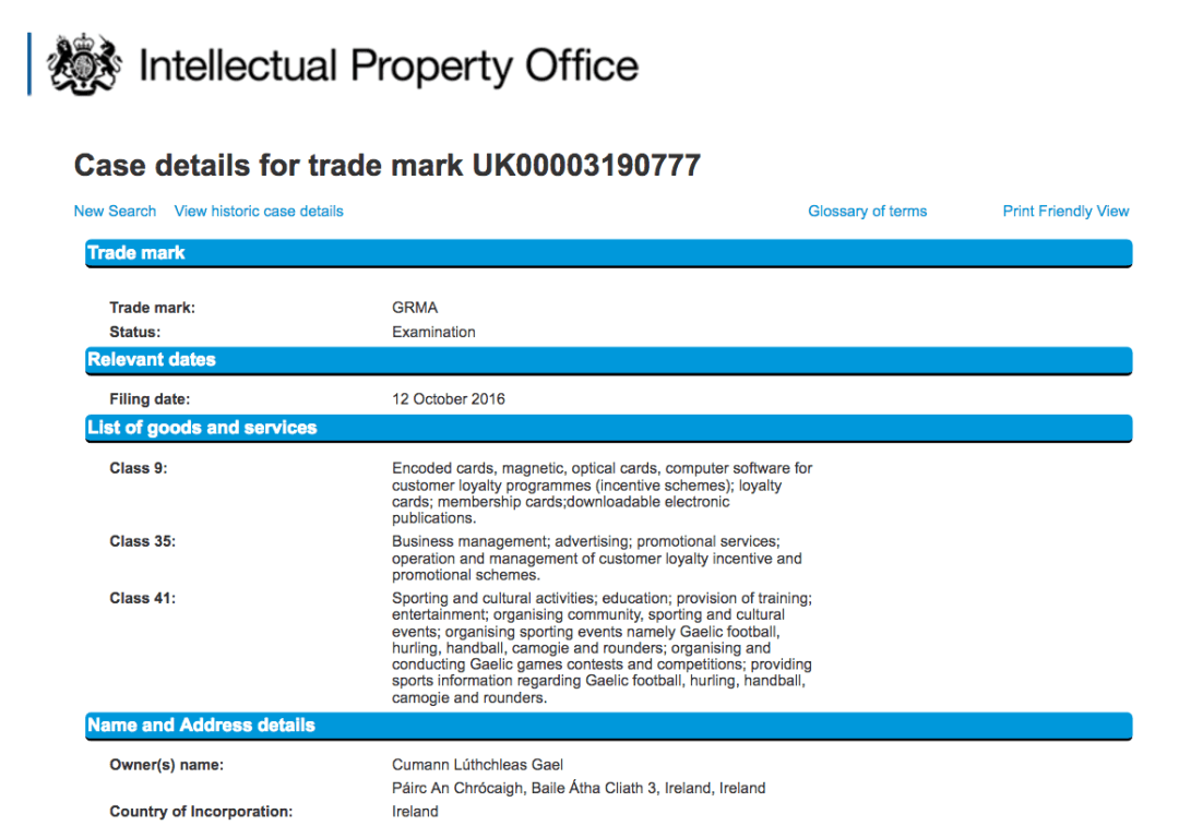 GRMA Trademark Application UK