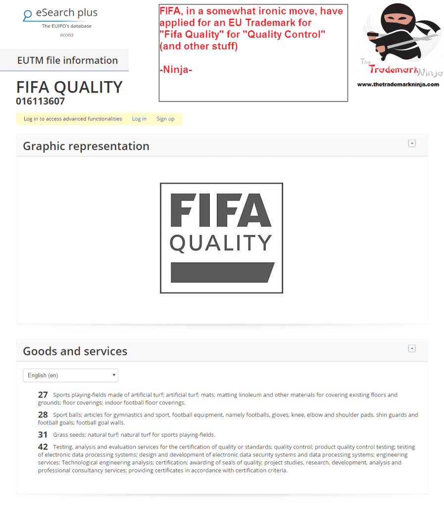 Fifa have applied for an EU Trademark for FifaQuality <a href=