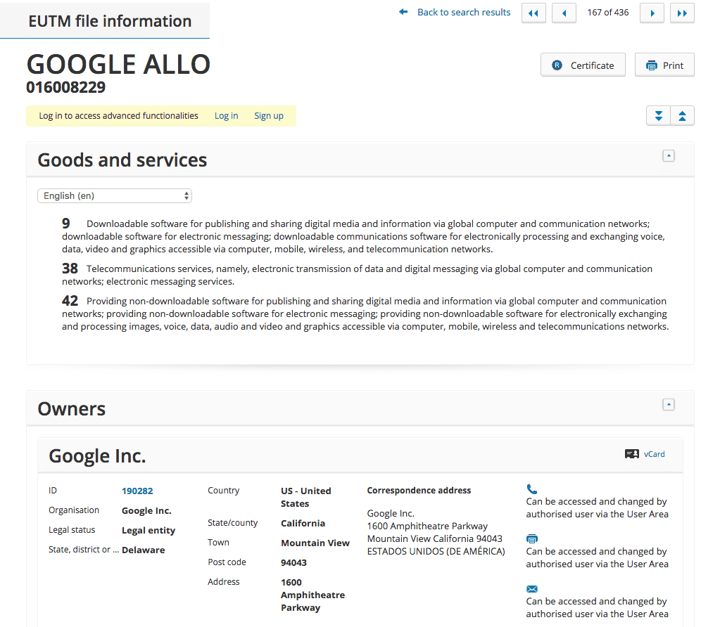 Google Formally Applies For Eu Trademark For Google Allo Feature Which Premiered Months Ago Allo Googleallo Google