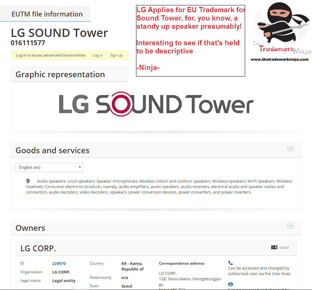 I wonder will <a href=http://twitter.com/LG target=_blank rel=nofollow data-recalc-dims=1>@LG</a> get this trademark for LG Sound Tower If Seen these kinds of applications refused LG SoundTower