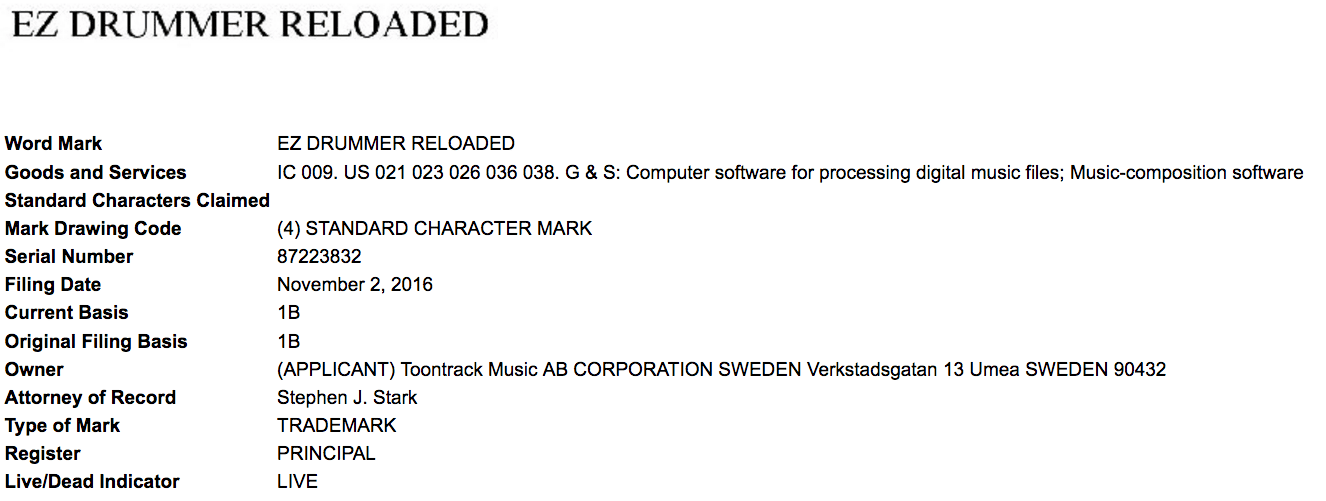 If Youre A Musician Youve Probably Heard Of Ez Drummer Heres A Recent Us Trademark Application For Ezdrummerreloaded