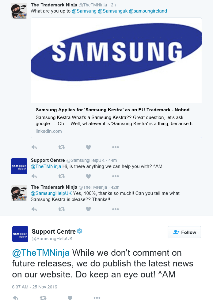 Im having a delightful conversation with Samsung Support about the SamsungKestra