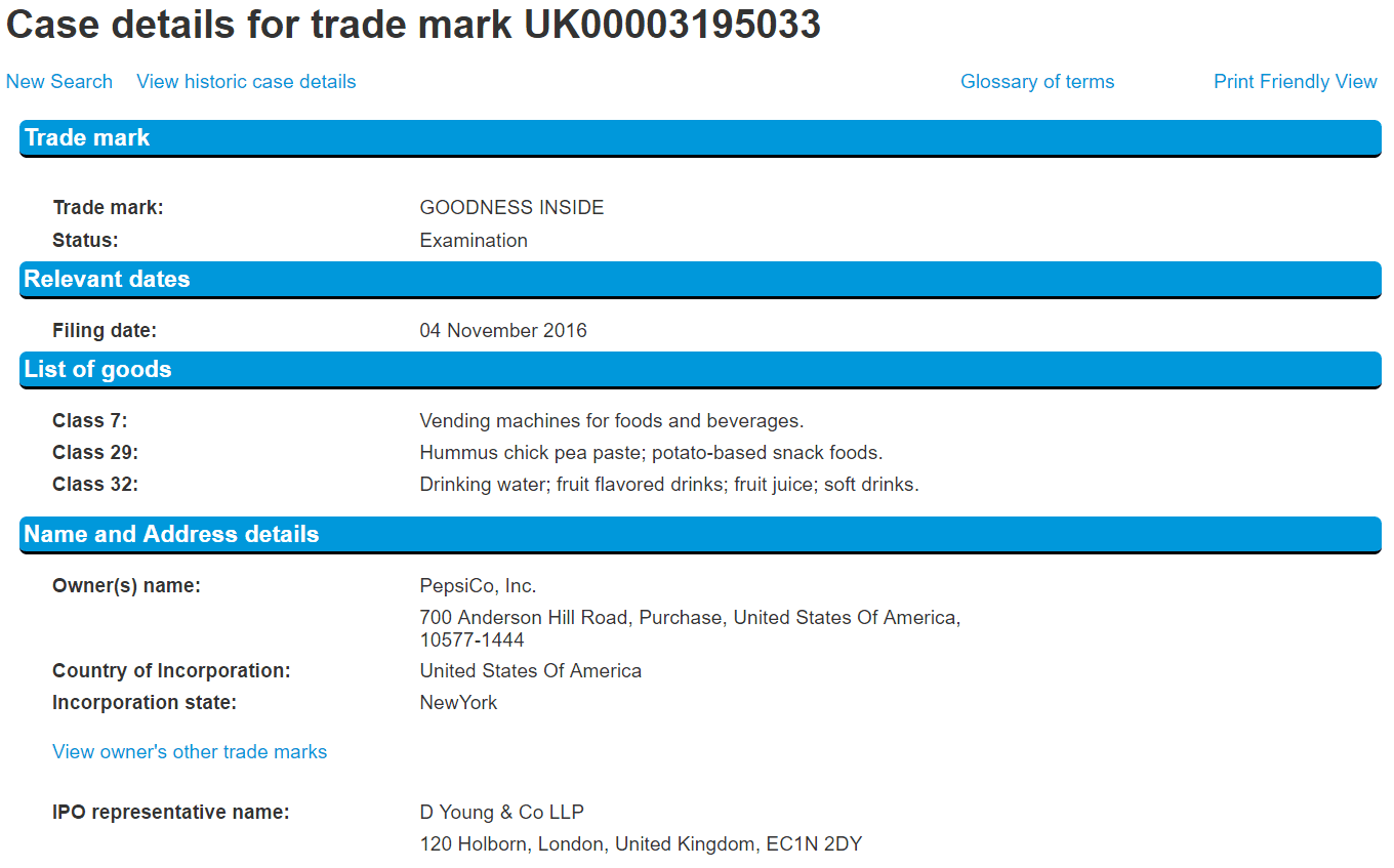 Pepsico Apply For Uk Trademark For Goodnessinside For A Various Goods Pepsi Pepsico Uktrademark