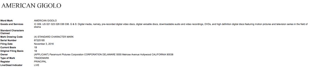 This Is Quite Interesting Paramountpictures Applies For Trademark In The Us For American Gigolo