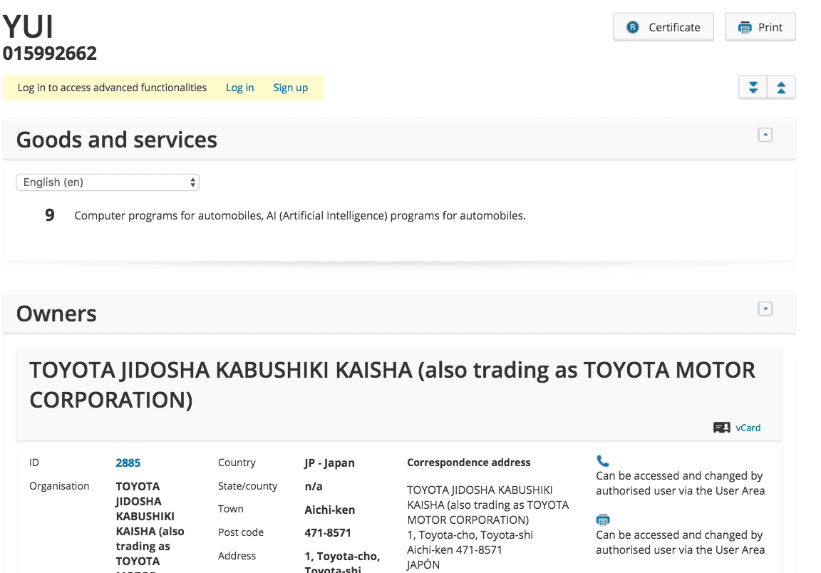 Toyota Have Applied For A Trademark For Yui For Ai For Automobiles Toyota Toyotauk Toyotaireland Toyota Yui