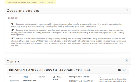 American institution @harvard university has applied for an EU trademark Dataverse