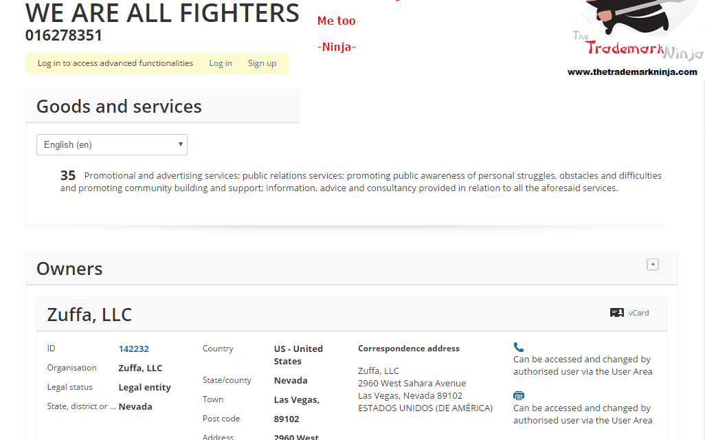 An EU Trademark application by @UFC for WeAreAllFighters