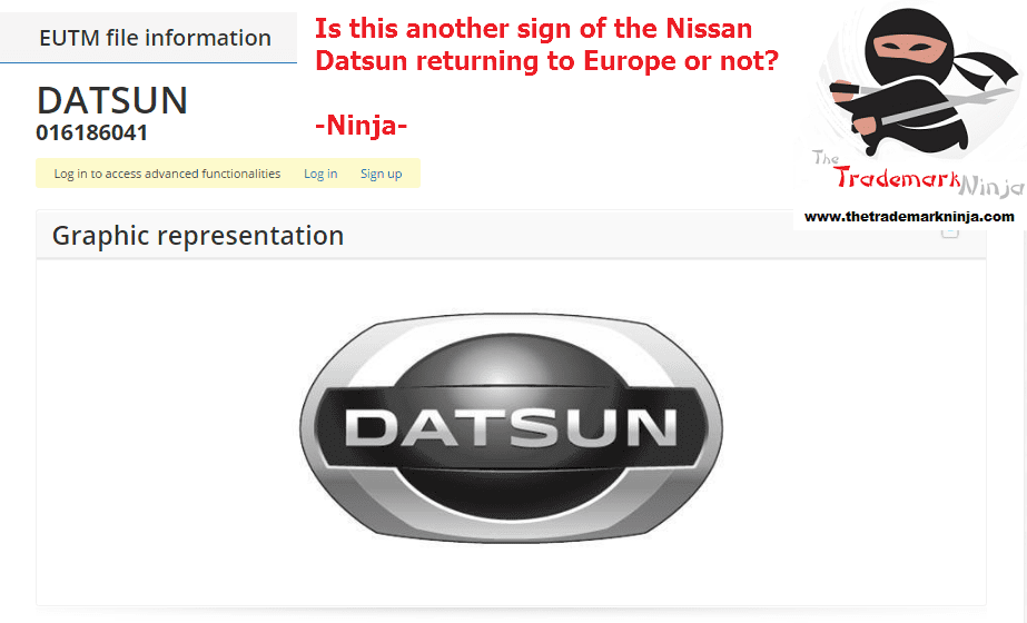 Another <a href=http://twitter.com/Nissan target=_blank rel=nofollow data-recalc-dims=1>@Nissan</a> Datsun trademark application filed in the EU Nissan