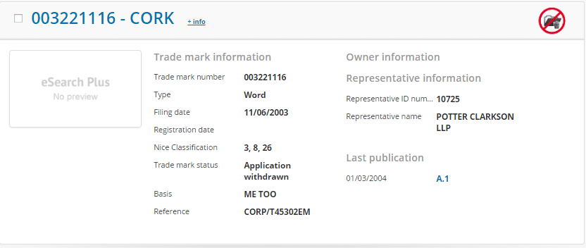 Cork Trademark Application Details