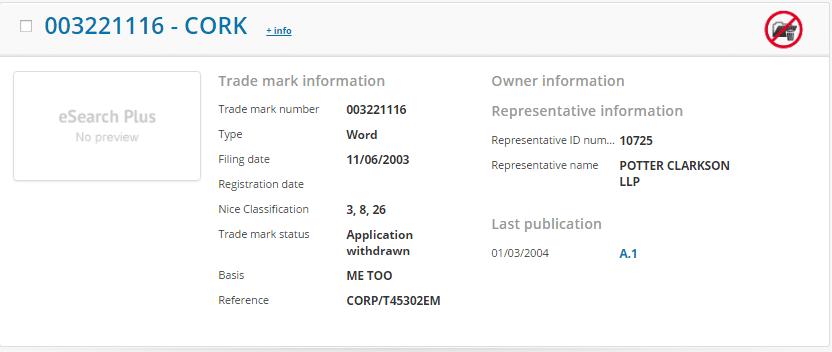 Cork Trademark Application Details