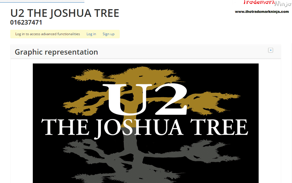 EU Trademark application by @U2 for TheJoshuaTree filed in January 2017