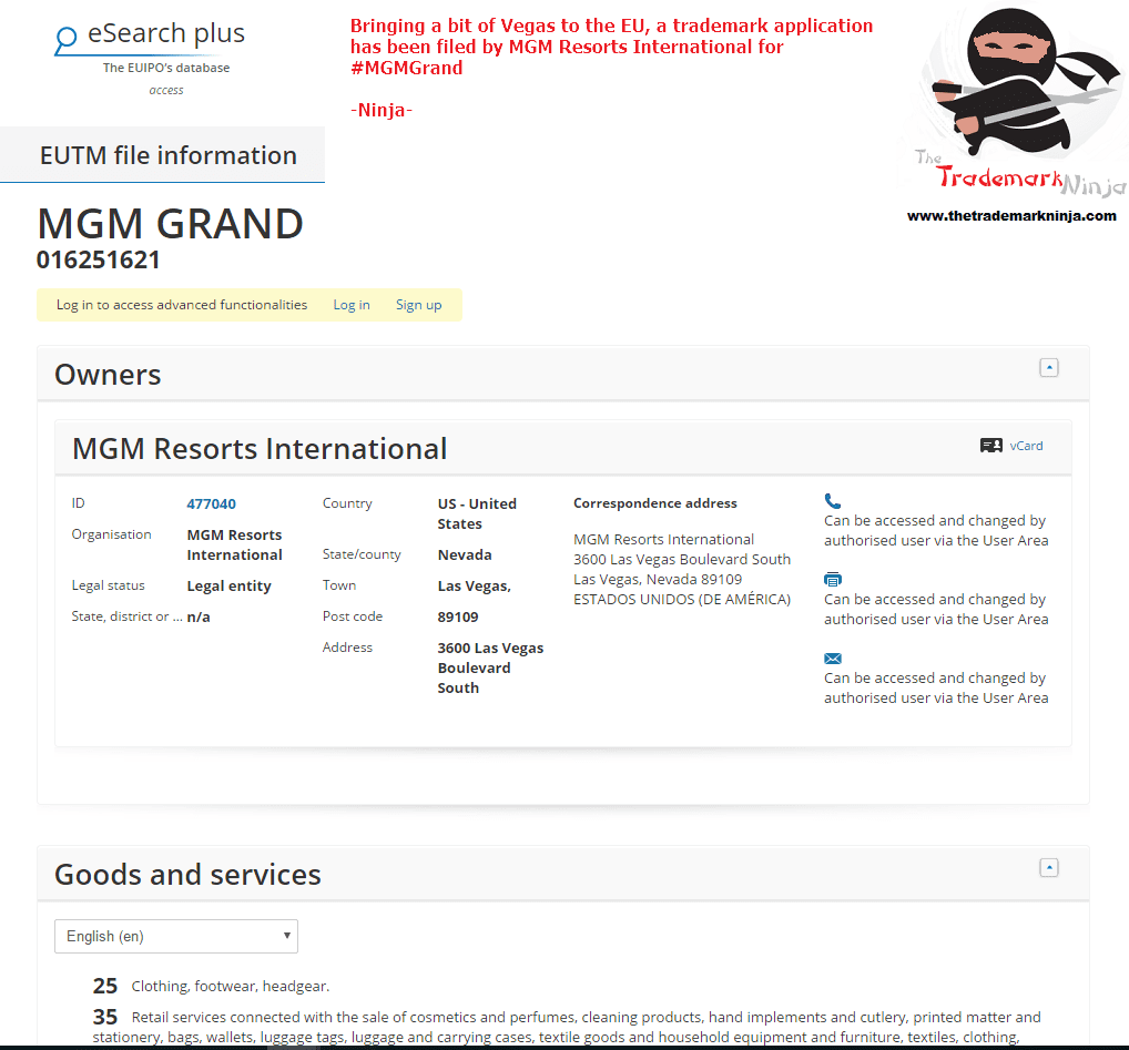 I stayed there when I was in Vegas a few years ago <a href=http://twitter.com/MGMGrand target=_blank rel=nofollow data-recalc-dims=1>@MGMGrand</a> making its way to Europe with EU Trademark