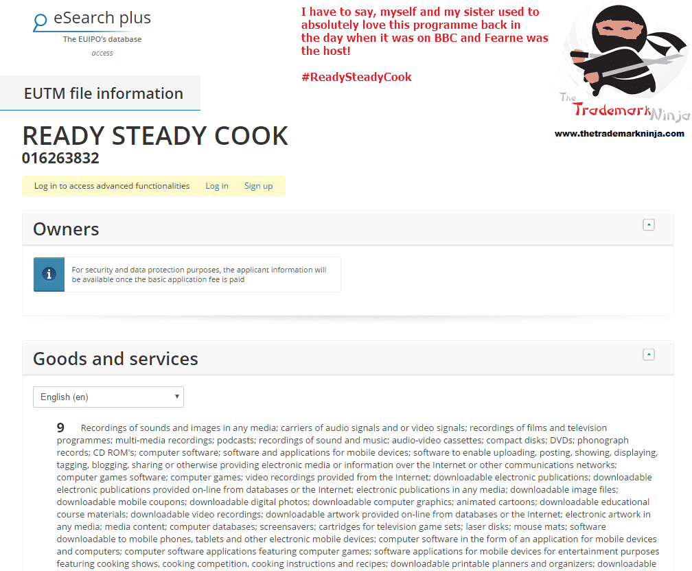 Is this the triumphant return of ReadySteadyCook Trademark application filed in the EU