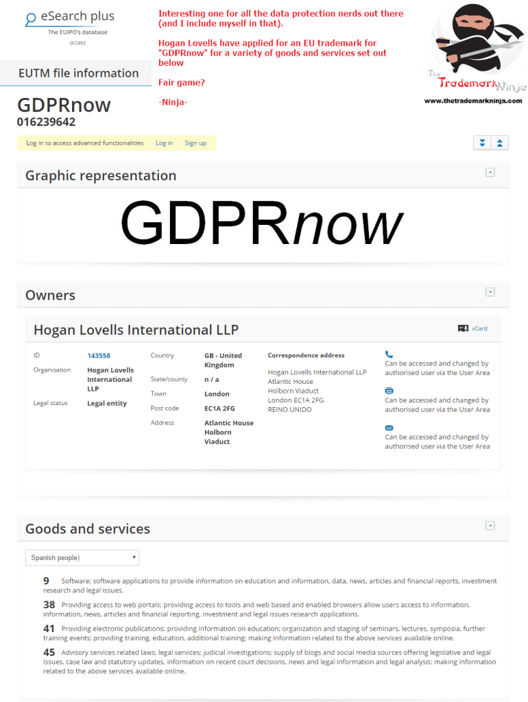 Law Firm <a href=http://twitter.com/hoganlovells target=_blank rel=nofollow data-recalc-dims=1>@hoganlovells</a> have applied and an EU trademark for GDPRnow GDPR DataProtection
