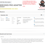 Mercedes Daimler have applied for a trademark for Pro Adapter @Mercedes Mercedes