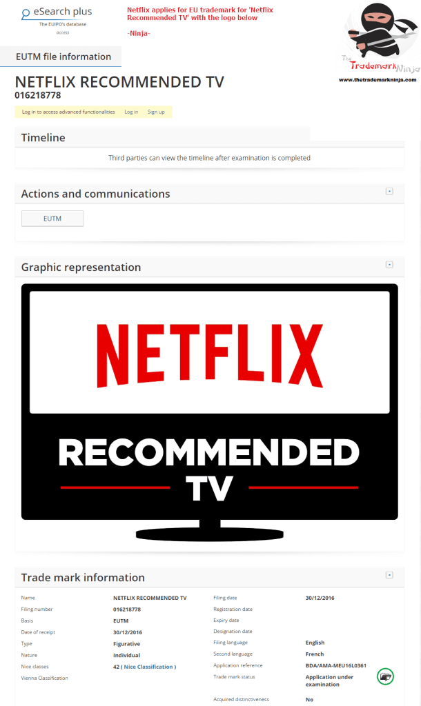 Netflix applies for an EU Trademark for Netflix Recommended TV <a href=
