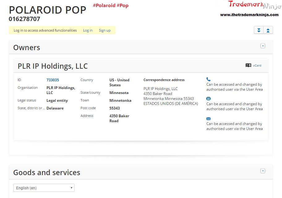 Polaroid have applied for an EU trademark for PolaroidPop