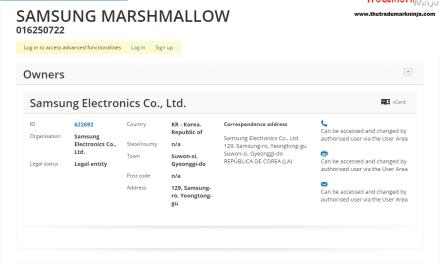 Samsung EU Trademark application for Marshmallow SamsungMarshmallow @Samsung @SamsungUK