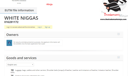 Someone has applied for a trademark for WhiteNiggas for clothes and bags and things Tricky Trademark