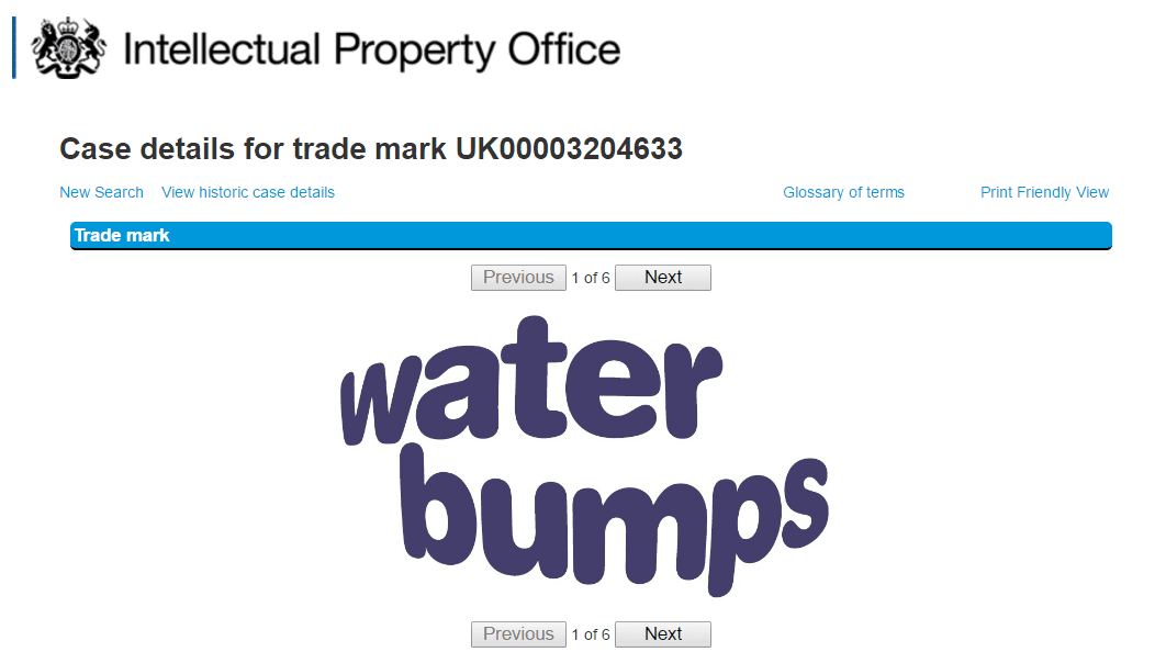 The @WaterBabies folks have applied for a uk trademark for their @waterbumps brand