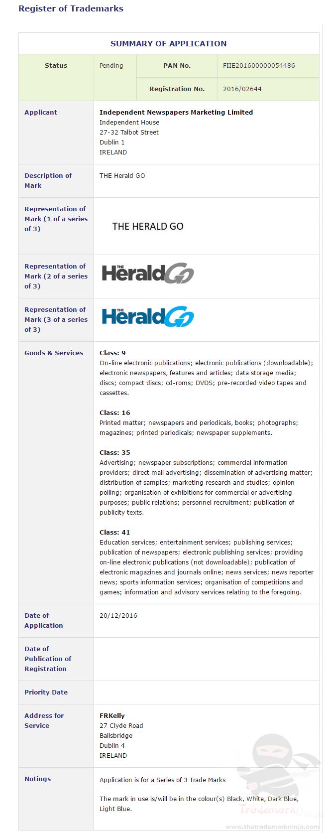 The Herald Go Trademark Application Lodged On 20 December 2016 Heraldnewsdesk Theherald