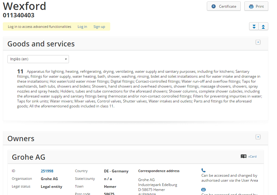Wexford Trademark Application For Grohe Ag