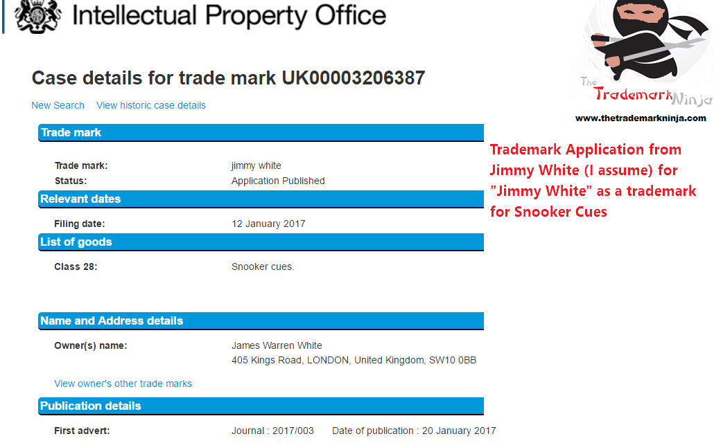 What a legend of the game a trademark application the UK for JimmyWhite for Snooker Cues