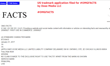A US Trademark application has been filed for OMGFacts @OMGFacts OMG