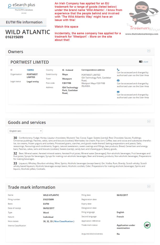 A trademark application for Wild Atlantic has been filed with the EUIPO WildAtlantic <a href=http://twitter.com/FailteIreland target=_blank rel=nofollow data-recalc-dims=1>@FailteIreland</a> <a href=http://twitter.com/DiscoverIreland target=_blank rel=nofollow>@DiscoverIreland</a>