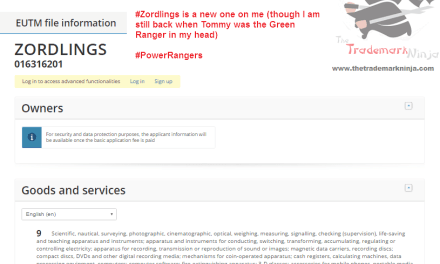 A trademark has been filed in the EU for Zordlings PowerRangers PowerRangerMovie