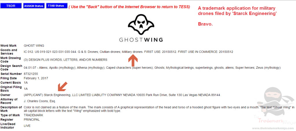 A tradmeark for Ghostwing Military Drones filed by Starck Engineering TonyStark Starck