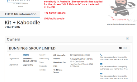 EU Tradeamark Someone from Australia has applied for KitAndKaboodle as a trademark