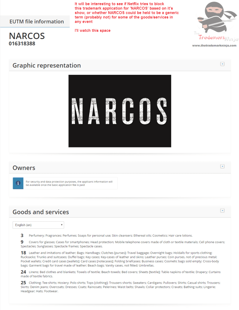 EU Trademarks Do you think <a href=http://twitter.com/netflix target=_blank rel=nofollow data-recalc-dims=1>@netflix</a> will try and stop this Narcos trademark application