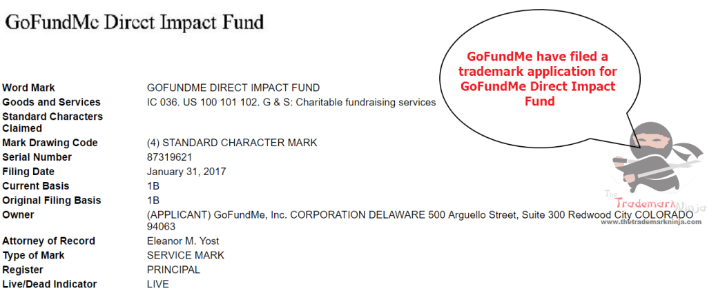 GoFundME file trademark application for DirectImpactFund <a href=