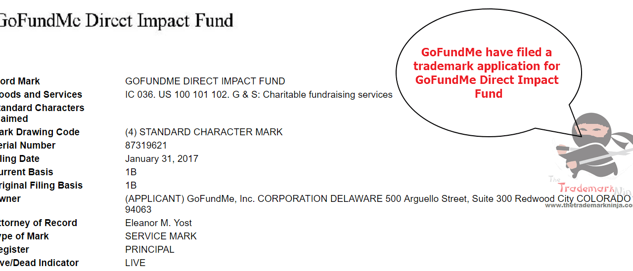 GoFundME file trademark application for DirectImpactFund @GoFundMe GoFundMe
