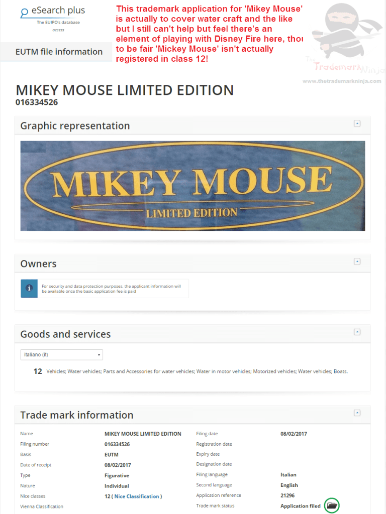 Im routing for these guys who have applied for a MikeyMouse trademark application MickyMouse Disney Boats