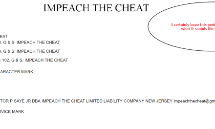 ImpeachTheCheat trademark application filed in the US Impeachment Trump Trademark