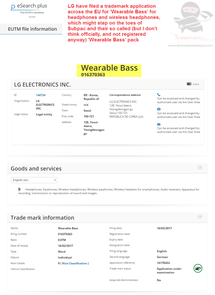 LG have filed an EU trademark application for WearableBass Wearables LG <a href=