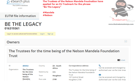 Nelson Mandela lives on with this trademark application by his foundation for BeTheLegacy