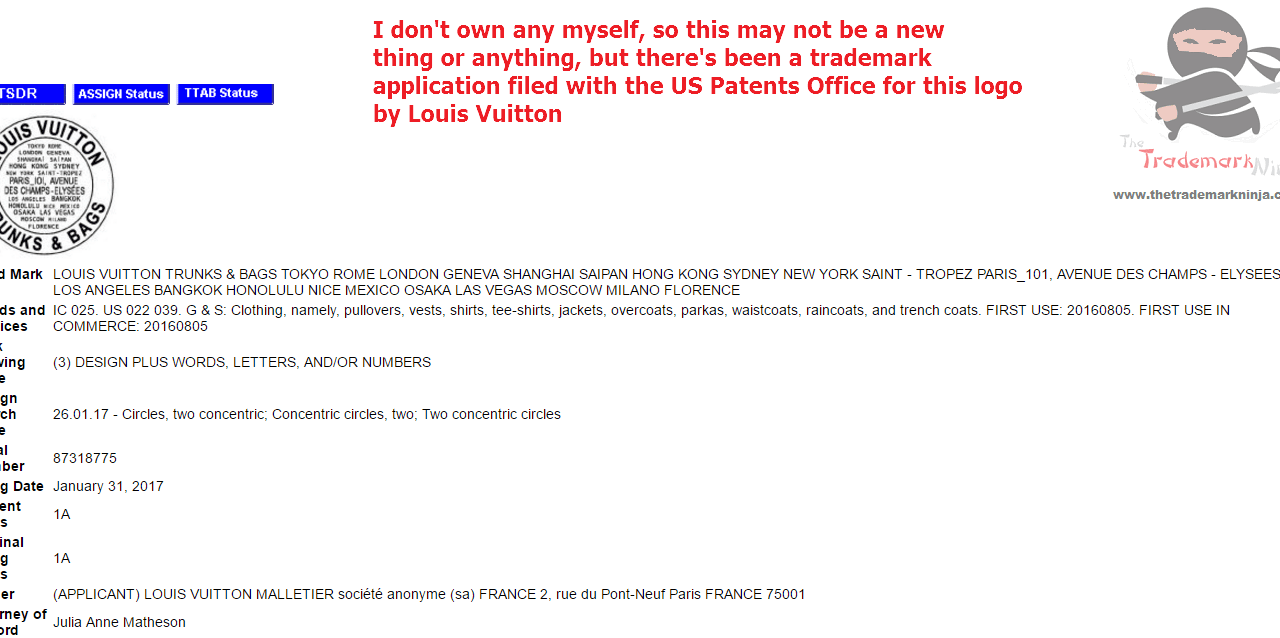 New LouisVuitton trademark application filed with the USPTO @LouisVuitton