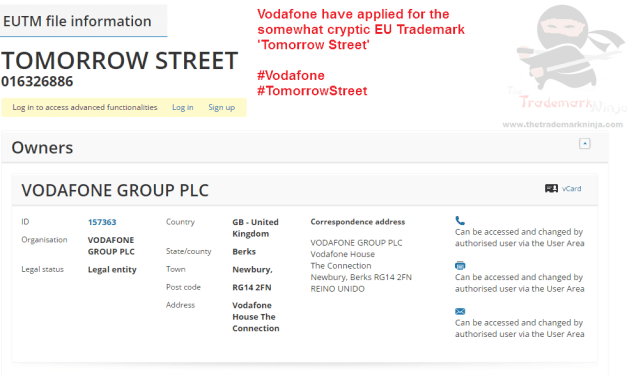 No idea what it is but @vodafone have applied for an EU trademark for TomorrowStreet
