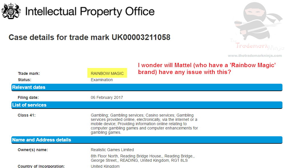 Rainbow Magic Trademark Appliction in the uk for Gambling related services RainbowMagic <a href=http://twitter.com/Mattel target=_blank rel=nofollow data-recalc-dims=1>@Mattel</a>