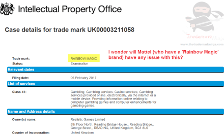 Rainbow Magic Trademark Appliction in the uk for Gambling related services RainbowMagic @Mattel
