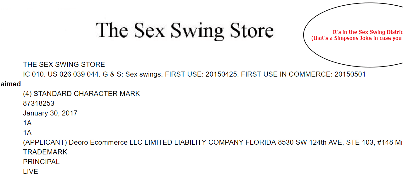 The Sex Swing Store US Trademark Application SexSwing Trademark SexSwingStore
